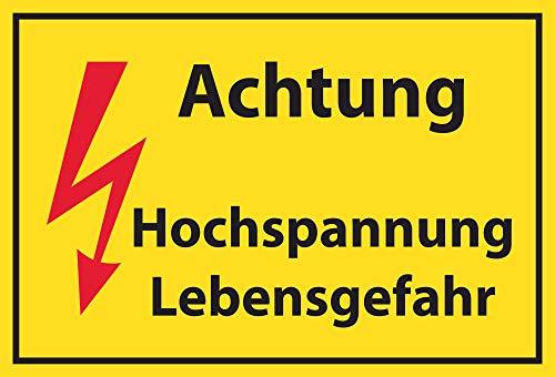 SCHILDER HIMMEL anpassbares Hochspannung Lebensgefahr Schild 29x21cm aus Kunststoff, Nr 513 eigener Text/Bild verschiedene Größen/Materialien