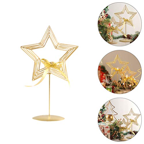 TOYANDONA 1pc Star Shaped Candle Holder Iron Pillar Candle Holder Decorative Gold Pedestal Candle Stand for Wedding Christmas (25.4cm/10inch)