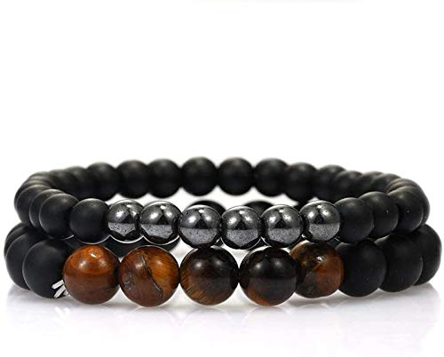 FLYAND Stone Bracelet Women,7 Chakra Natural Brown Tiger Eye Stone Bead Bangle Frosted Elastic Bracelet Yoga Lucky Jewelry For Men Ladies Christmas Couple Gift 2 Pcs