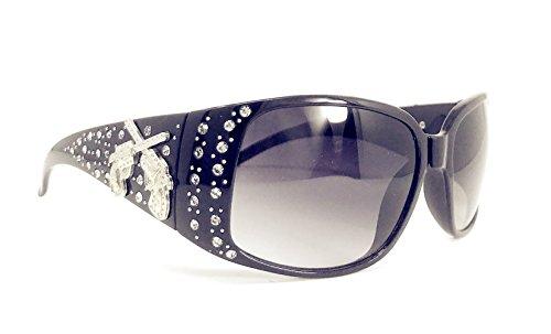 Texas West Women's Sunglasses With Bling Rhinestone UV 400 PC Lens in Multi Concho (Metal Concho Pistol Black)
