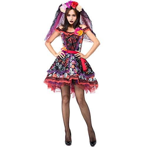 ZHDP Disfraz de Calavera del Día de los Muertos Halloween Mujer Scary Bride Grave Skeleton Fantasia Fancy Dress-Black_S