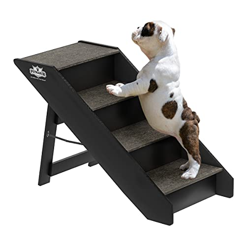 PETMAKER 80-PET6147 Folding Pet Stairs-Carpeted Foldable Durable Wood Steps-Compact, Portable, & Sturdy for Home or Travel, Dogs, Cats, Petsup to 80Lbs, 4 Step