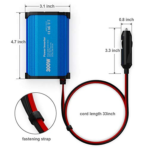 300W Power Inverter DC 12V to 110V AC Car Charger Converter with 4.8A Dual USB Ports (Blue)