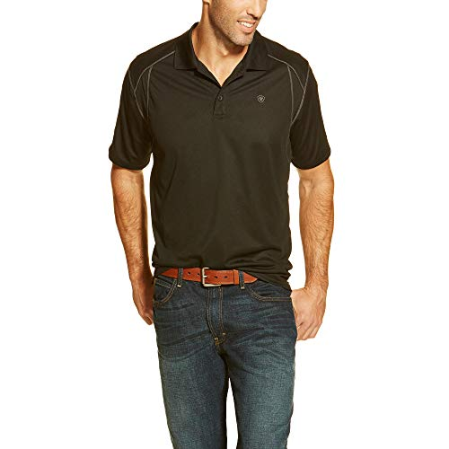 Ariat Men's AC Mesh Venttek Polo Shirt, Black, X-Large