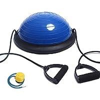 ISE Balance Trainer Fitball Media Bola de Equilibrio para Entrenamiento, Ø 46cm Gym Pelota Balón Semiesfera de Gimnasia Pilates con Cables y Inflador para Yoga y Fitness, MAX. 150 KG, Azul SY-BAS1003