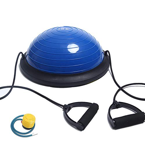 ISE Balance Trainer Fitball Media Bola de Equilibrio para Entrenamiento, Ø 46cm Gym Pelota Balón Semiesfera de Gimnasia Pilates con Cables y Inflador para Yoga y Fitness, MAX. 150 KG, Azul SY-BAS1003 ✅