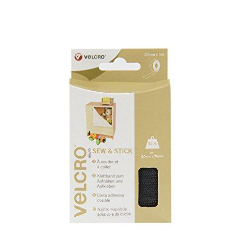 Preisvergleich Produktbild VELCRO - Sew and Stick on Tape 20 mm x 1 Meter schwarz - Klettband zum Aufnähen & zum Aufkleben Haft und Flauschteil (BxL) 20mmx 1 Meter schwarz