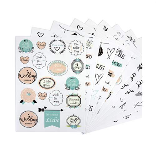 WeddingTree 199 Sticker Hochzeit Gästebuch 10 Blatt A5 - Aufkleber Hochzeit - Scrapbook Sticker - Bullet Journal Sticker - auch für Karten Geschenke und DIY