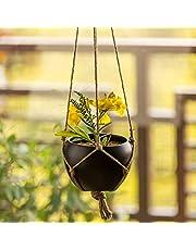 ExclusiveLane 'Black Goblet' Indoor and Balcony Home Decorative Metal Hanging Planter Pot with Jute