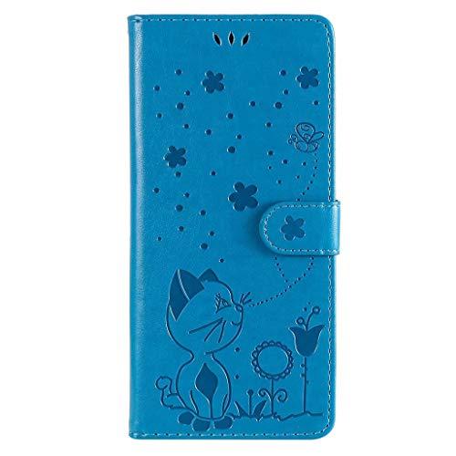 GOGME Funda para Xiaomi Redmi Note 9T 5G Billetera, Funda Abatible de Cuero con Diseño de Gatito en Relieve Bastante Elegante, Ultrafino Anti-caída Estuche Protectora, Azul
