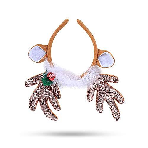 1 Pc Christmas Reindeer Headband Sequins Feather Animal Antler Ear Hair Headwear