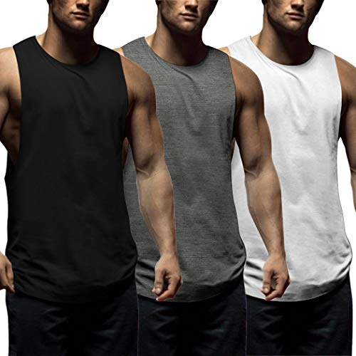 COOFANDY Mens Workout Tank Tops 3 Pack Sleeveless Shirts Gym Bodybuilding Muscle Tee Shirts (X-Large, White/Dark Grey/Black