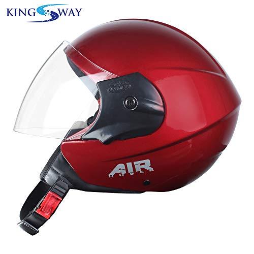 Kingsway armex series air huber half face helmet for men and women (red glossy)