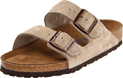 Birkenstock Unisex Arizona Taupe Suede Soft Foot Bed Sandals - 41 N EU/10-10.5 2A(N) US Women/8-8.5 2A(N) US Men