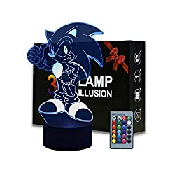 3D Illusion Lampe, drei Muster und 16 Farben ändernde LED Nachtlampe mit Fernbedienung und Smart Touch, Weihnachts- und Geburtstagsgeschenken für Kinder Sonic the Hedgehog 1