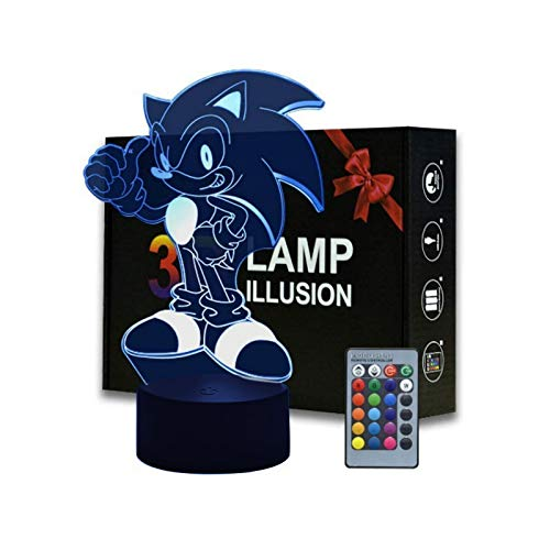 3D Illusion Sonic The Hedgehog Night Light, lámpara de mesa de anime con control remoto para decoración de dormitorio infantil, iluminación creativa para niños y fanáticos