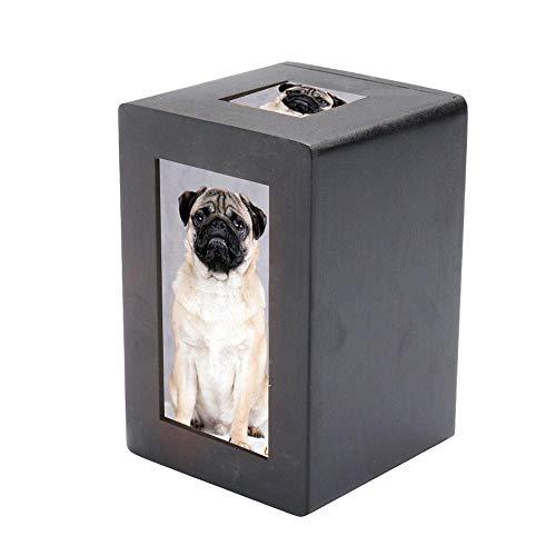 Womdee Urna de Madera para Cenizas de Mascotas, Caja de Cenizas de Madera con Marco de Fotos, Caja de Recuerdo para Mascotas para Tus Mascotas