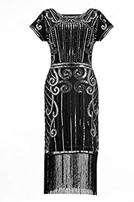 U.mslady Womens 1920s Gatsby Inspired Sequin Fringe V-Neck Embellished Flapper Dress Short Sleeves