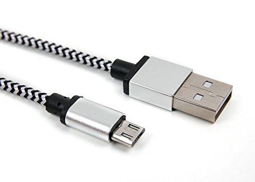 DURAGADGET Cable USB a Micro USB Trenzado en Color Plata y Negro....