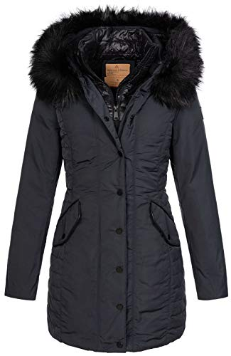 Anonymous & Famous Damen Winterparka AF-6802B Jacke mit Fell-Kapuze Blue S
