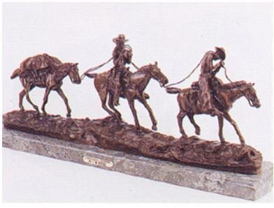 Changing Outfits Collectible Solid Bronze Sculpture Statue by C. M. Russell
