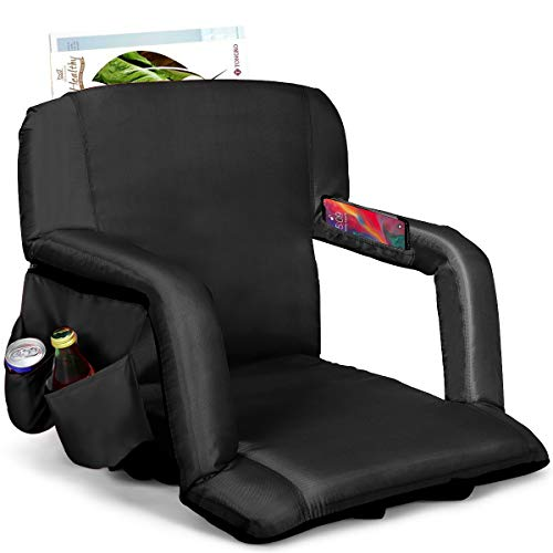 Goplus Foldable Stadium Seat, Portable Reclining Bleacher Chair with Armrest, 5 Adjustable Angles of Back Support, Side Pockets, Ideal for Sporting Events, Beached, Camping (Black)