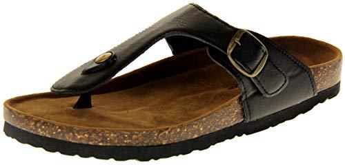 Dunlop Mujer Sandalias Ligeras De Cuero Sintético De Verano Negro EU 39