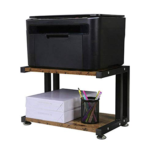 Zairmb Desktop Druckerregal Hölzerner Druckerständer 2 stufiger Schreibtisch Organizer für Drucker Fax Scanner Dokumentarablage Finisher Regale - A