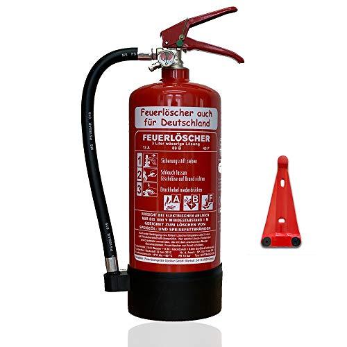 NEU 3 l Fettbrand Schaum Feuerlöscher auch für Deutschland DIN EN3 GS + Wandhalter + Manometer + Standfuß 13 A, 89 B, 40F = 4 LE (Ohne Prüfnachweis u. Jahresmarke)