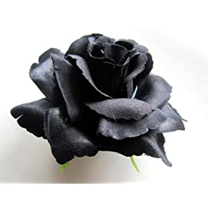 (4) Big Black Silk Roses Flower Head – 3.75″ – Artificial Flowers Heads Fabric Floral Supplies Wholesale Lot for Wedding Flowers Accessories Make Bridal Hair Clips Headbands Dress