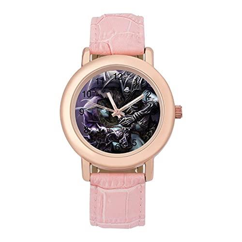 World WarcraftLadies Reloj de cuarzo con correa de cuero 2266 espejo de cristal redondo rosa accesorios casuales moda temperamento 1.5 pulgadas