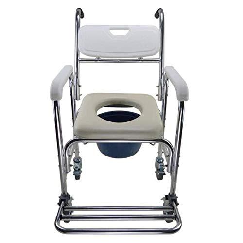 4 in 1 Kommode Stuhl/Mit WC-Sessel Mit Radstuhl/Rollstuhl Dusche Transportstuhl/Badezimmer Badhocker, Mobile Toilette Ältere Person,A