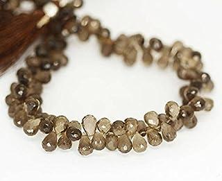 """Natural cuarzo ahumado facetado lágrima Briolette sueltos gemas Craft cuentas Strand 9""""10mm 9mm"""