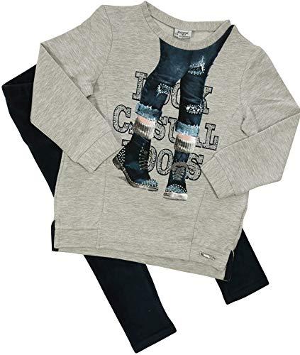 Mayoral Mädchen Kindermode-Set 2 Teile Langarm-Shirt & Kord-Leggings, Grau-Marine, Größe: 128
