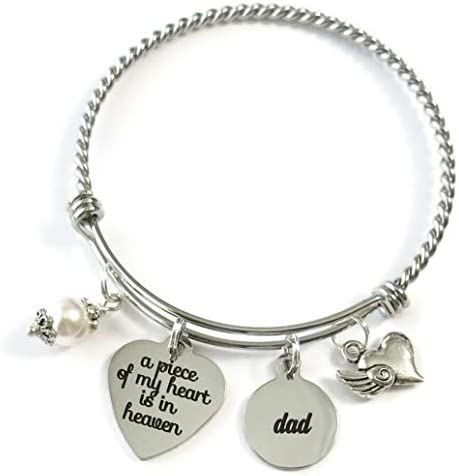 DAD Memorial Bracelet A Piece of My Heart is in Heaven Loss of Father In Memory of Dad Dad in product image