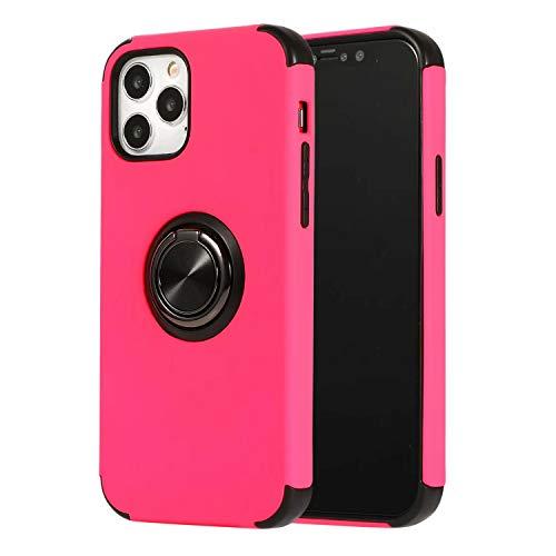 FHZXHY Funda con función atril compatible con iPhone 12 Pro Max (5 g 6.7 pulgadas 2020) 360 grados de rotación de anillo de dedo con carcasa protectora magnética para coche, anti-caída, rojo rosa