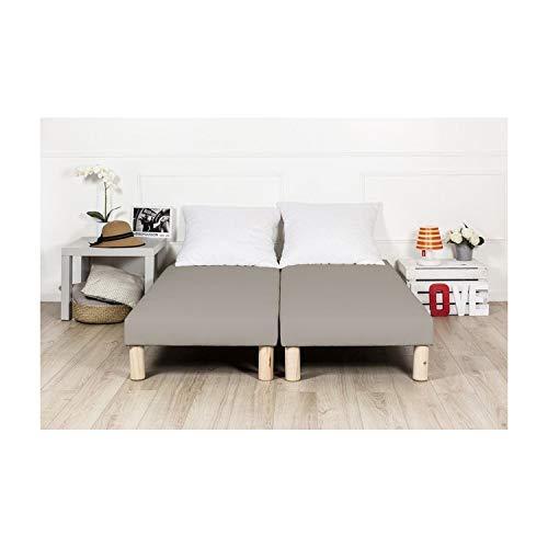 By sommiflex Sommier tapissier 2x80x200 Gris (160x200) Fabrique en France Pieds