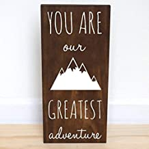 Delia32Agnes You are Our Greatest Adventure Wood Sign, Mountain Nursery Decor Boy, 7.5 X 15 Inches