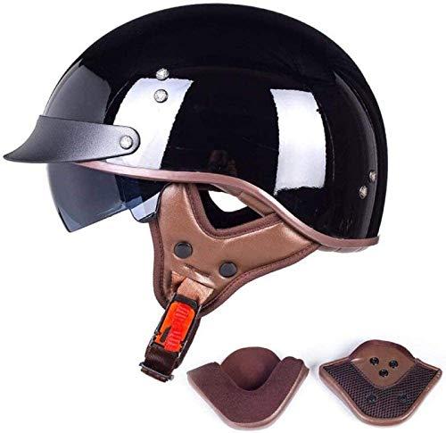 YAUUYA Medio Casco Casco Jet para Motocicleta Certificado Dot Cruiser Chopper Monopatín Ciclomotor Piloto Casco De Cara Abierta Gafas Integradas con Protección Auditiva,E-XXL=(63~64cm)