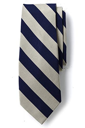 Lands' End Men s Wide Stripe Necktie Eggshell/navy Stripe Long No Sz