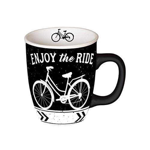 Carson Home Enjoy the Ride Mug 14oz, Decorative Ceramic Mug for Coffee Latte Tea Hot Cocoa, Novelty Gift for Travelers, Microwave and Dishwasher Safe