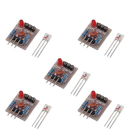 ARCELI 5 Piezas Módulo de Sensor láser Tubo no modulador Módulo de detección de Receptor láser Interruptor de relé 5V para Arduino