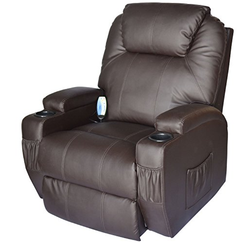 HOMCOM Massage Heated PU Leather 360 Degree Swivel Recliner Chair with Remote - Brown