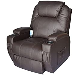 Homcom Luxury Faux Leather Heated Vibrating Massage Recliner Chair