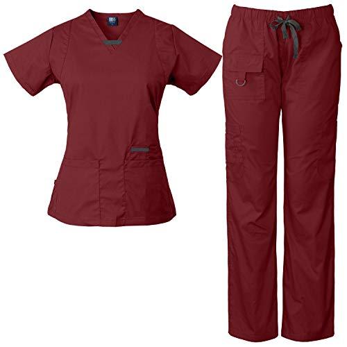 Medgear Womens Scrub Set Utility 4 Pocket top, 7 Pocket 2043 Pant with D-Ring (Burgundy, S)