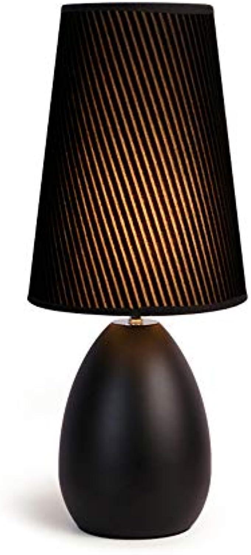 Tischlampe,Nachttischlampe Für Schlafzimmer,Stoff Schreibtischlampe Retro Nachtlicht, Minimalist Stoff Nachttisch-Leuchte Für Schlafzimmer, Kaffeetisch And Büro Nachtlicht E27,5W Warmes Licht,Schwarz