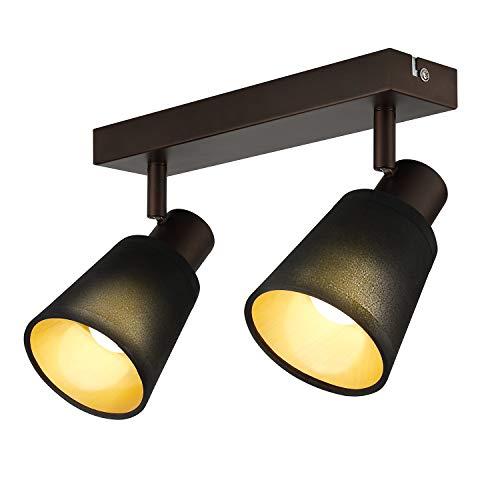 IMPTS LED Deckenleuchte 2-Flammig Stoffschirm Spot Strahl Lampe Deckenlampe Wandlampe Spotbalken Esstisch vintage schwarze stoff inkl.Leuchtmittel E14 LED, 280LM,230V, IP20,Warmweiß