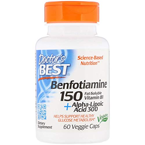 Doctor's Best Benfotiamine 150 Plus Alpha-Lipoic Acid 300 Mg Vegeratian Capsules, 120 Count,pack of 2