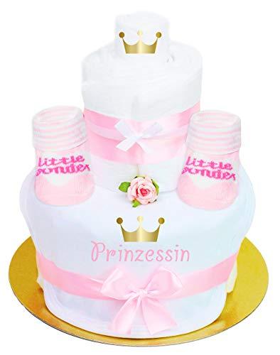 Trend Mama Sprüche Windeltorte - Mädchen- Babysocken mit Spruch Little Wonder + hochwertig bedrucktes Lätzchen mit Prinzessin goldene Krone
