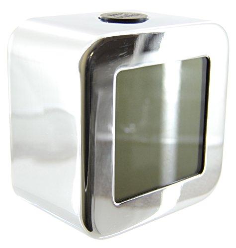 Faonline Sveglia LCD da 9 cm con Temperatura, Giorno e Data, Cromato